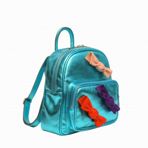 Candy Metallic Green Leather Backpack