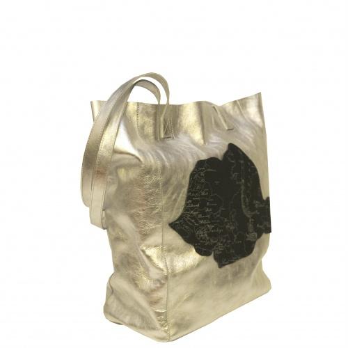 Arround The World Printed Leather Romanian Map on Silver Handmade Shopperbag Carmenittta