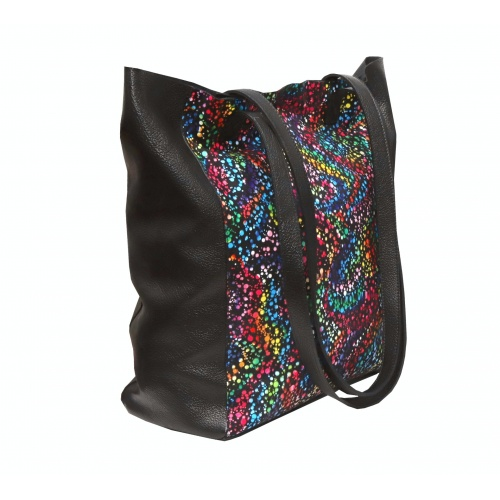 Black Painted Print Natural Leather Shopper Bag