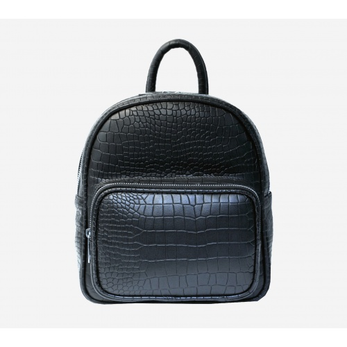 Croco Black Leather Backpack