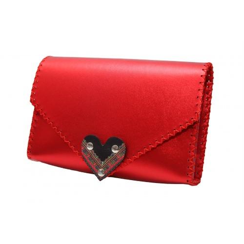 Traditional Print Heart Metallic Red Leather Handmade Bag