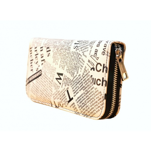 Newspaper Print Leather Wallet