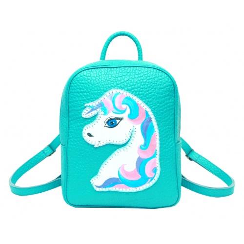 Handpainted Unicorn on Turquoise Leather Backpack Carmenittta