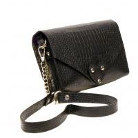 Black Croco Printed Natural Leather Handmade Bag Camenittta