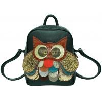 Black Leather Handmade Owl Backpack By Carmenittta