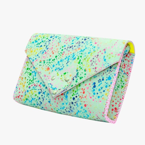 Handmade White Leather Bag With Special Painted Print