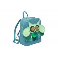Gray Leather Handmade Owl Backpack By Carmenittta