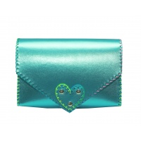 Metallic Blue Leather Handmade Bag Carmenittta