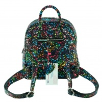Black Painted Print Suede Leather Backpack
