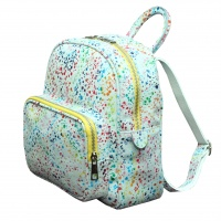 White Painted Print Suede Leather Backpack