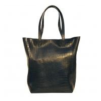 Croco Printed Natural Leather Shopper Bag