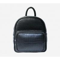 Croco Black Leather Backpack
