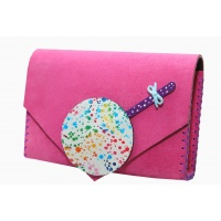 Handmade Purple Suede Leather with Painted Lollypop Bag ''Carmenittta
