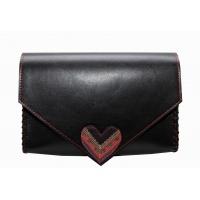 Traditional Print Heart Black Leather Handmade Bag