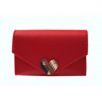 Traditional Print Heart Red Leather Handmade Bag