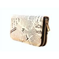 Newspaper Print Leather Wallet