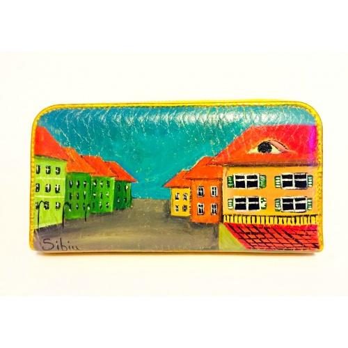 Sibiu Streetview Handpainted Golden Leather Wallet by Carmenittta