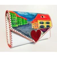 Sibiu Streetview Handpainted White Leather Bag by Carmenittta