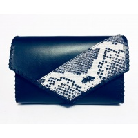 Black Leather Bag with a Snakeprint Detail
