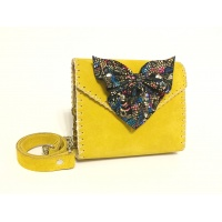 Colorful Camoscio Leather Bow on Yellow Suede Leather Baby Bag by Carmenittta