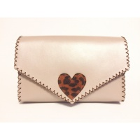 Pearl Cream Box Leather with Animalprint Suede Leather Heart Detail Bag by Carmenittta