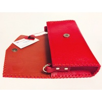Red Leather Bag with Cavallino Red Brown Calf Skin Detail Handmade by Carmenittta