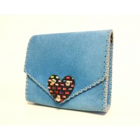 Turquoise Suede Leather Baby Handmade Bag by Carmenittta