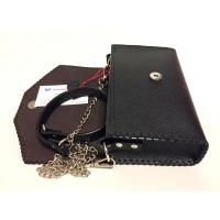 Python Snake Leather Detail on Black Leather Bag
