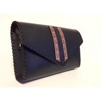 Traditional Print Leather Detail on Black Leather Bag Carmenittta