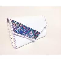 Traditional Print Detail on White Leather Handmade Bag Carmenittta