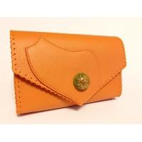 Callistephus Flower in Epoxy Resin on Natural Orange Leather Handmade Bag By Carmenittta