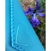 Aquamarine Saffiano Leather Handmade Bag