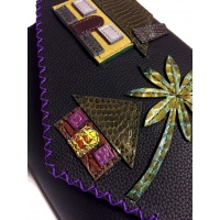 Little Colorful Leather Houses On Black Leather Bag By Carmenittta