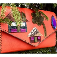 Little Colorful Leather Houses On Orange Saffiano Leather Bag By Carmenittta