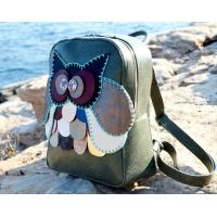 Handmade Colorful Owl on Green Snakeprint Leather Backpack by Carmenittta