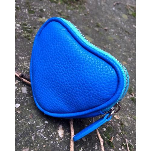 Blue Leather Heart Little Wallet