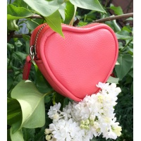 Coral Leather Heart Little Wallet