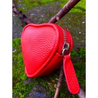 Red Leather Heart Little Wallet