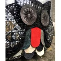 Handmade Leather Owl on Silver Leather Little Backpack Carmenittta