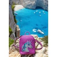 Handpainted Unicorn On Purple Leather Backpack by Carmenittta
