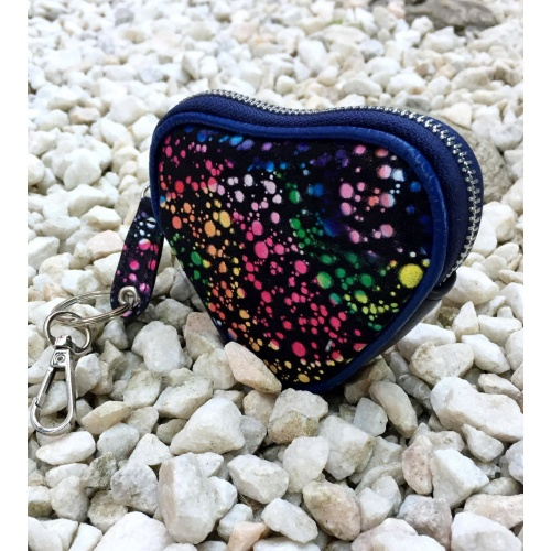Black Suede Leather with Colorful Painted Print Heart Little Wallet