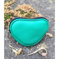 Light Green Leather Heart Little Wallet