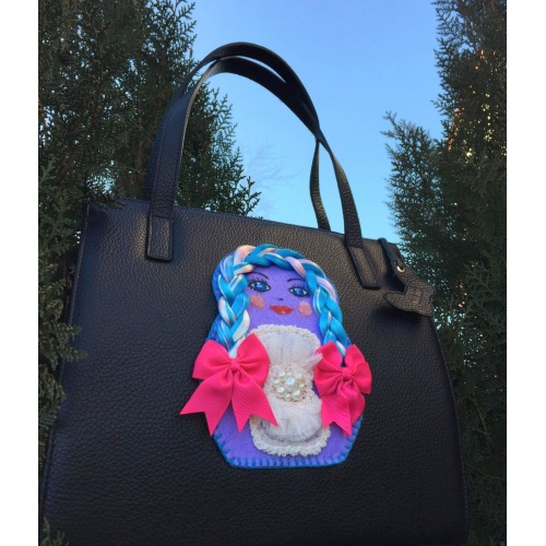 Unique Handmade Matrioshka Long Hair Doll on Natural Black Leather Bag