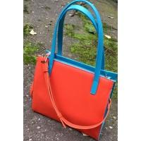 Unique Handmade Matrioshka Long Hair Doll On Turquoise and Orange Saffiano Leather Bag