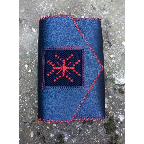 Black Leather Hand Embroidered Traditional Symbol Red Cross Bag