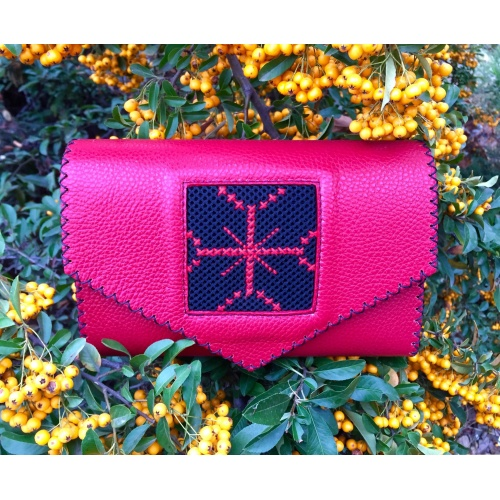 Red Leather Hand Embroidered Traditional Symbol Red Cross Bag
