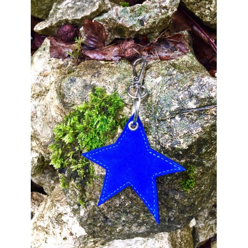 Blue Suede Leather Star Keychain